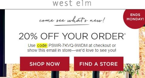 Find the best West Elm coupons, promo codes and deals for December All coupons hand-verified and guaranteed to work. Exclusive offers and bonuses up to % back!