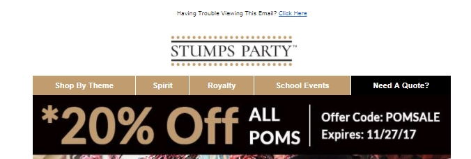 All Active Stumps Coupon Codes & Coupons - Up To 30% off in August Stumps is most popular for its prom supplies, which include banners, crowns and sashes, but it also offers an abundance of supplies for other special events involving school. These events include homecoming dances, general school spirit equipment and an assortment of decorations for nontraditional events.5/5(1).