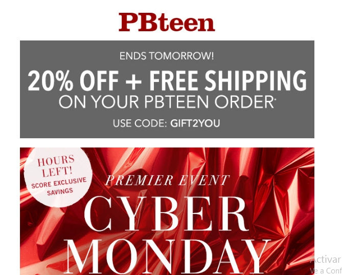 EXPIRING SOON Enter this PBteen coupon code to save 25% on your order as well as receive free shipping. See exclusions to this offer. MISTLETOE. Code has been copied to clipboard Reveal Code Tip: Come back to this page to copy the coupon code, and then paste it on the store's payment page. COUPON. Share Share Via Email Share on Facebook Free Shipping. Advertiser Disclosure. Expires .