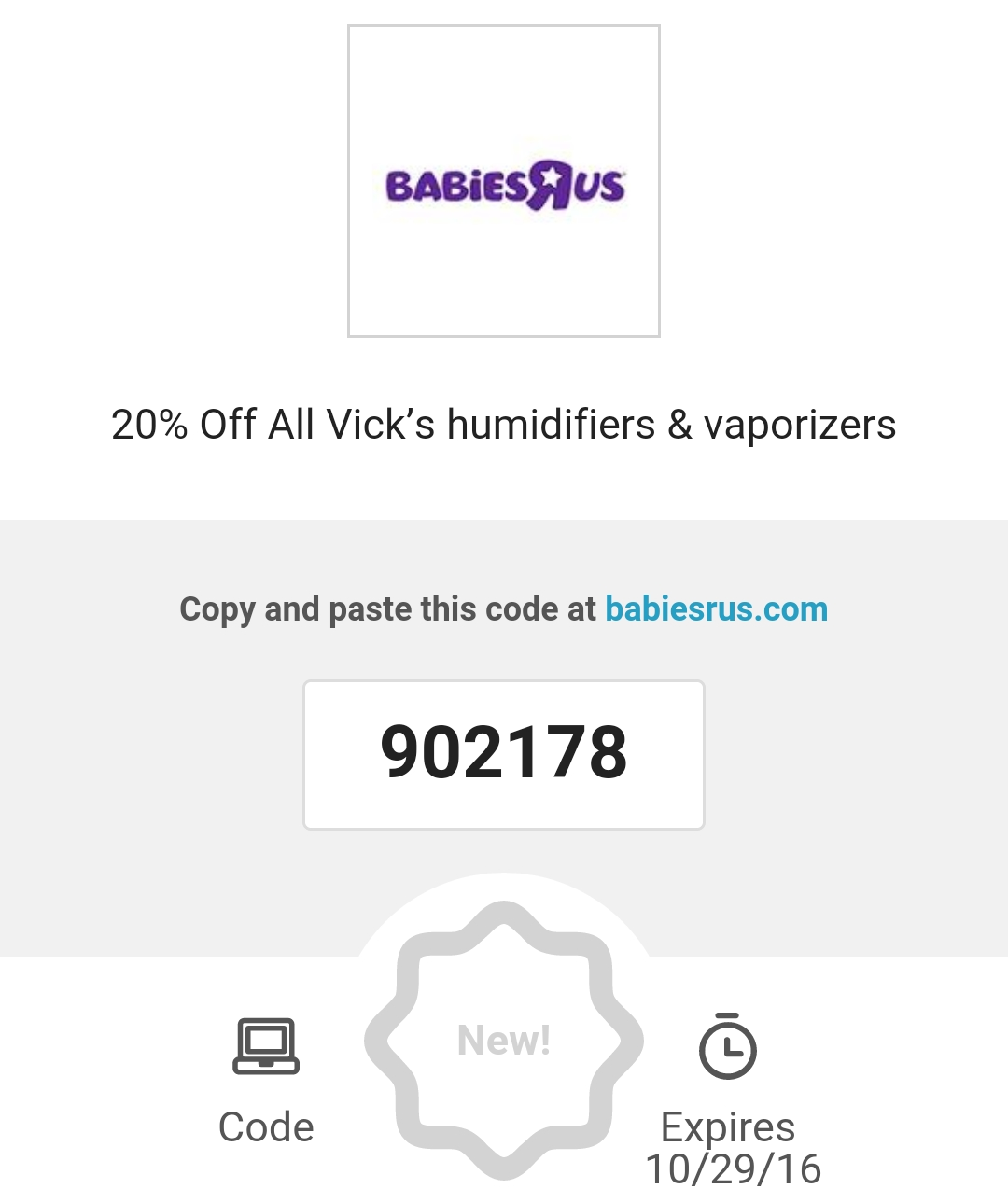 20% Off All Vick's Humidifiers & Vaporizers at Babies R Us #481C7D
