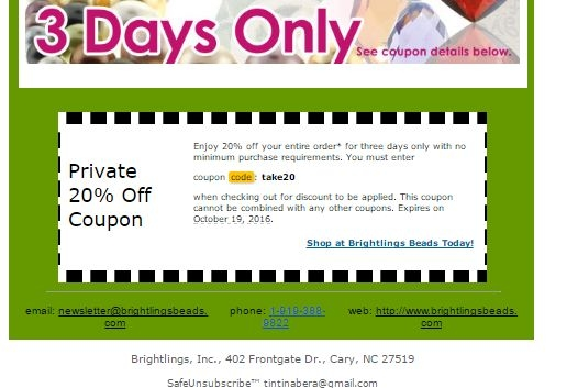 Brightlings Beads Coupon