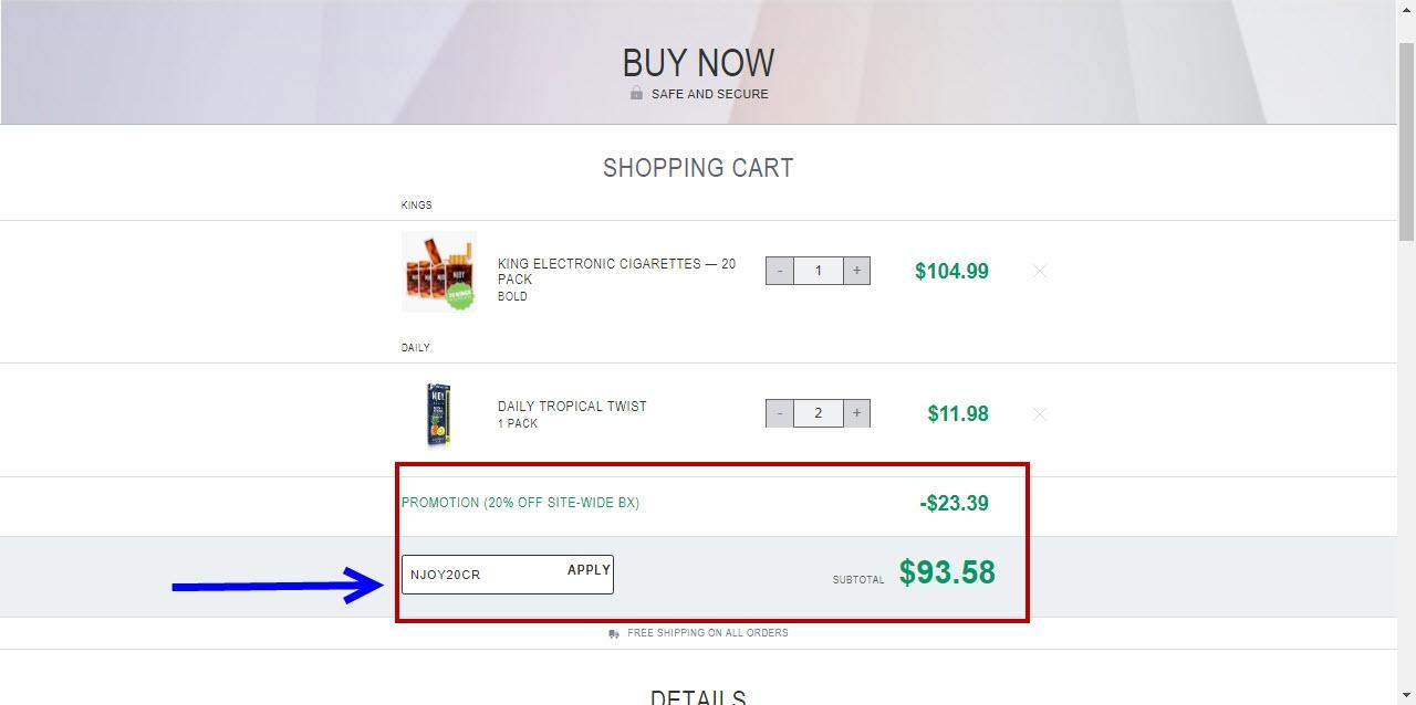 Njoy coupon code