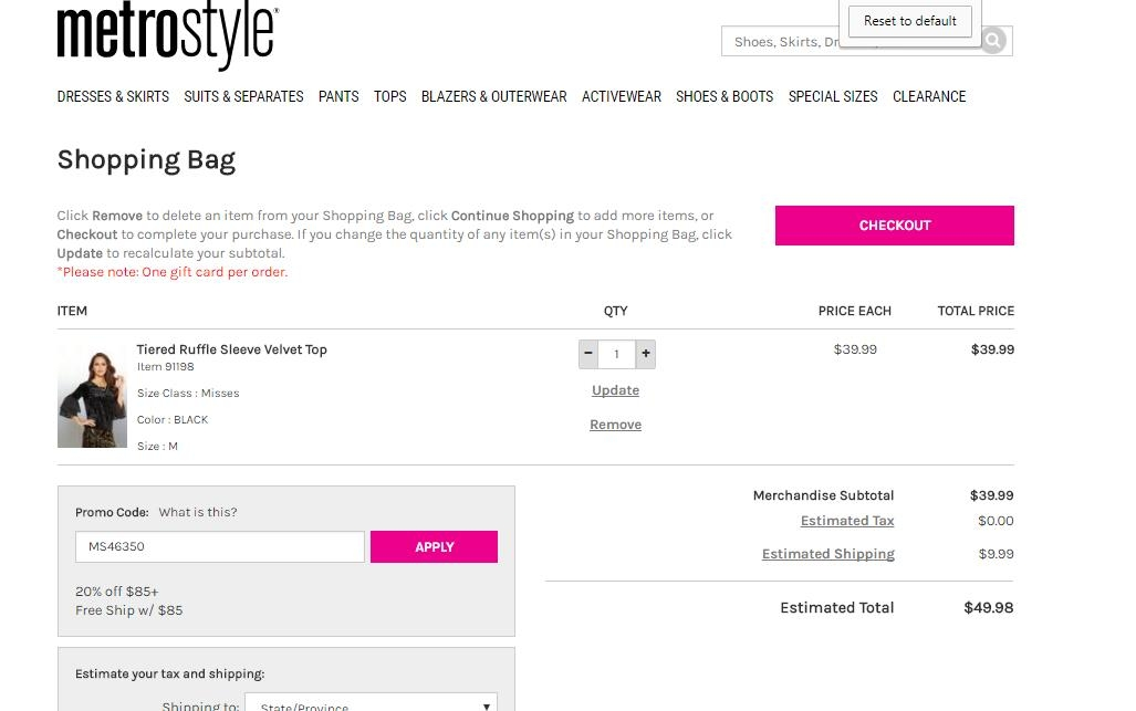 A metrostyle e-gift card can be purchased in amounts ranging from $20 to $; it's quickly delivered via email and has no expiration date. metrostyle operates a sister site, Chadwicks of Boston, that offers a similar selection of fashions for women in a variety of sizes, colors, and styles.