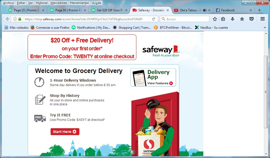$20 off. Works sitewide. Get $20 off + FREE Delivery on your 1st order of $75 or more when you use this code at Safeway. Validated This offer has been tested and approved See Exclusions *May not be combined with any other free or reduced delivery fee or service fee offer, discount or promotion%(17).