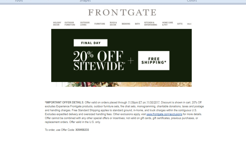 Frontgate coupon codes
