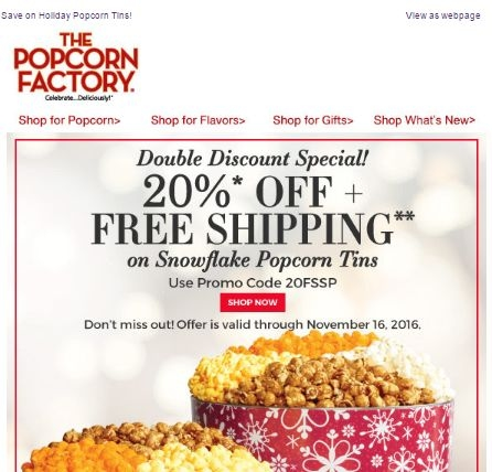 Popcorn factory coupon codes