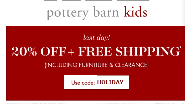 Details: Get an exclusive Pottery Barn Kids promo code when you sign up for regular Pottery Barn Kids email updates. Save on baby and kids room items such as beds, dressers, rugs, towels and much more.