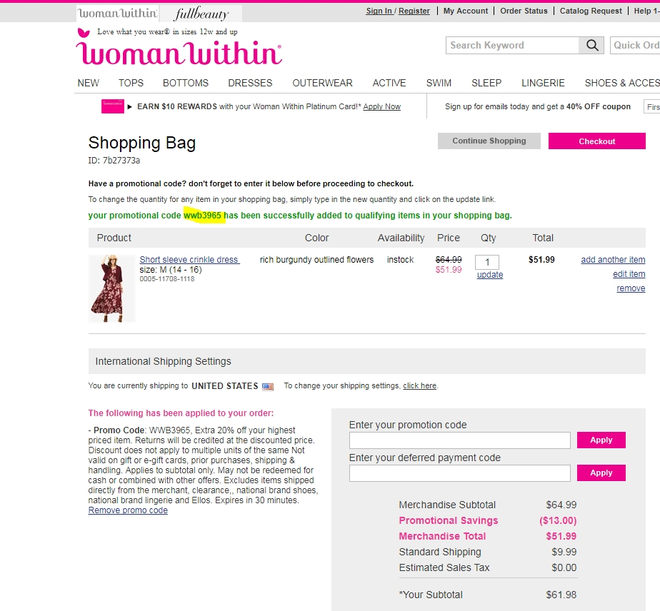 Woman within coupons code 50 off