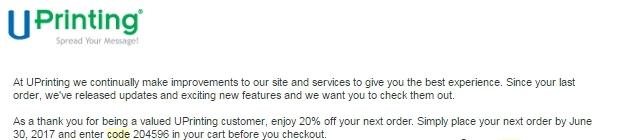 Uprinting coupon code