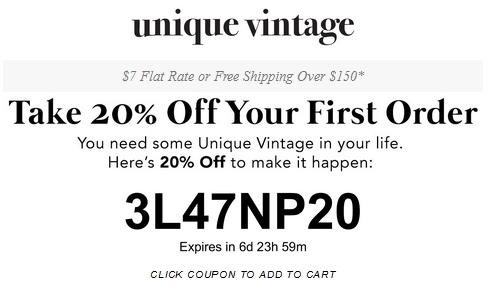 unique vintage online coupon