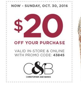 Christopher banks coupons retailmenot