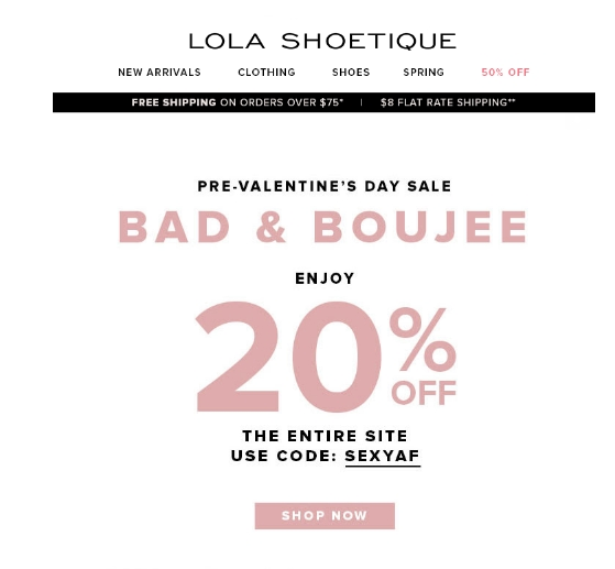 Lola shoetique coupon code 2018