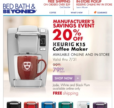 Keurig discount coupons