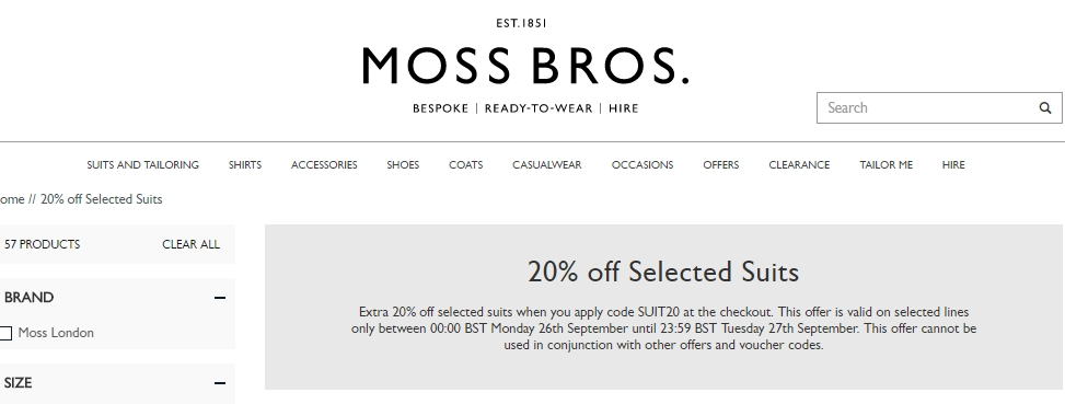 30 off moss bross uk coupon code 2017 promo code - Code promo mobilier moss ...
