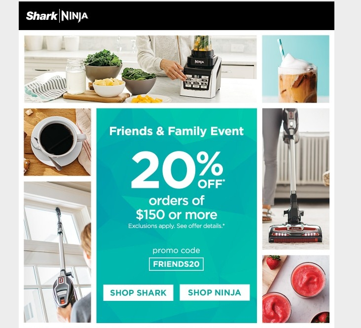 †DETAILS & EXCLUSIONS $45 OFF Ninja ® Smart Screen ™ Kitchen System with FreshVac ™ Use code MERRY45 OR $40 OFF Ninja Hot and Cold Brewed System ™ with Thermal Carafe or Ninja Hot and Cold Brewed System ™ with Glass Carafe Use code MERRY40 OR $30 OFF Ninja ® Air Fryer or Nutri Ninja ® with FreshVac ™ Use code MERRY30 OR $20 OFF.