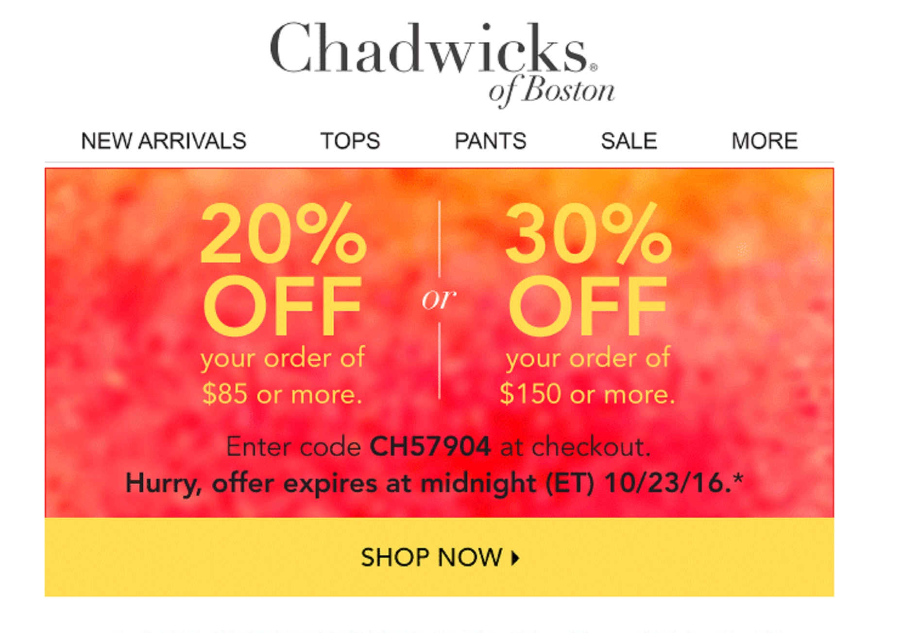 Chadwicks coupon codes