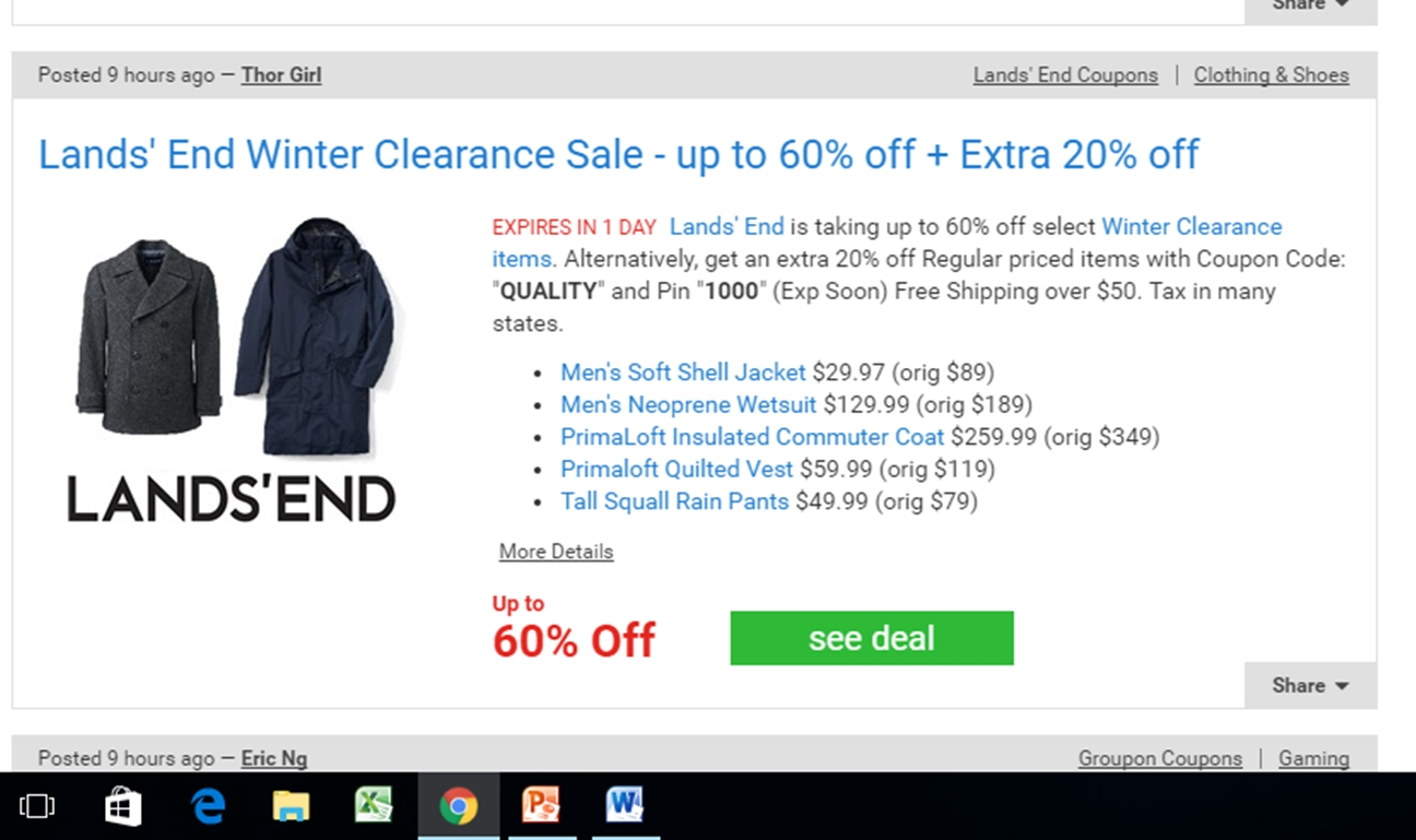 Lands end coupon march 2018