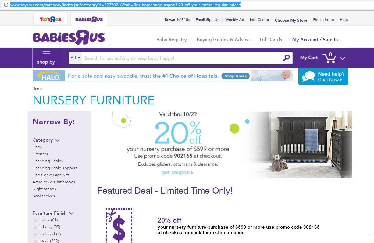 on Nursery Furniture With the Purchase of $599 or More at Babies R Us #1879B4