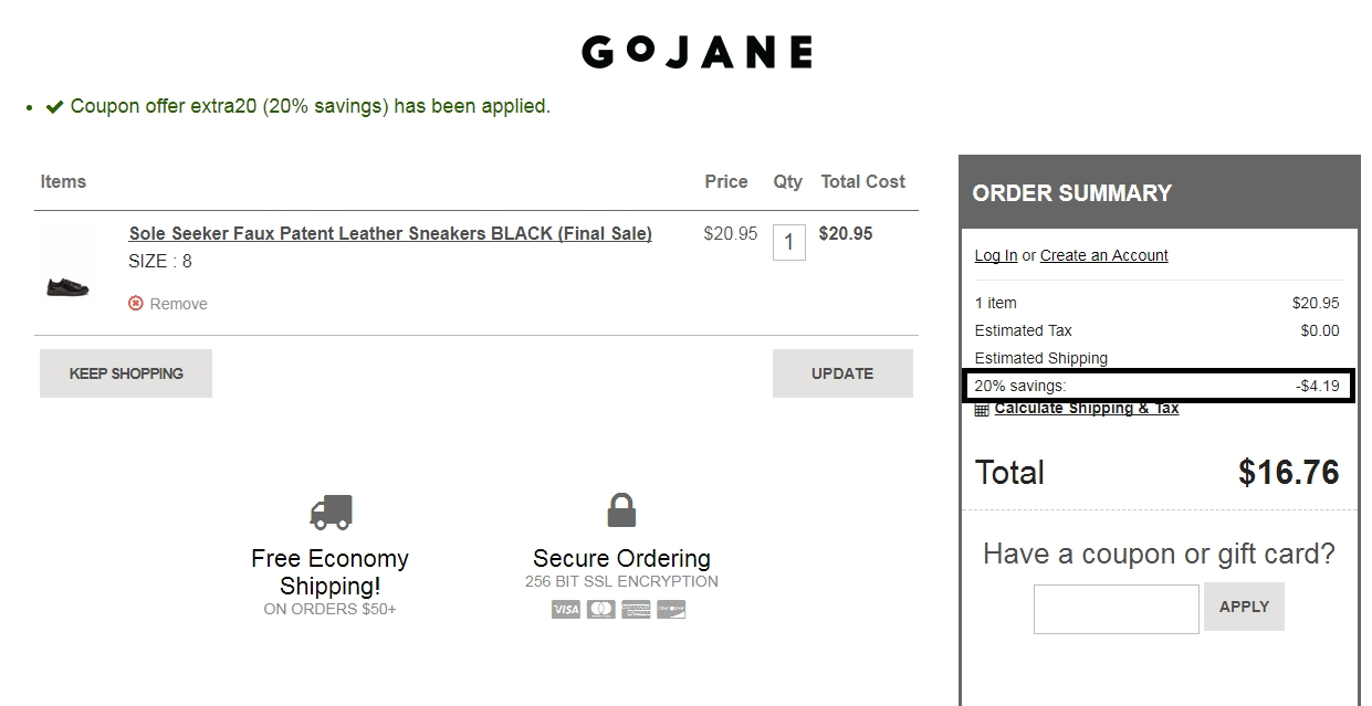 Coupon code for gojane