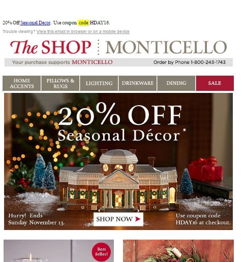 Monticello Coupon Codes 15 OFFERS 5 CODES 10 SALES COUPON CODE Free Shipping on orders over $75 Verified Expires 12/31/ GET CODE COUPON We've got your online savings for December , with 15 new Monticello Promo Codes and the best Coupons to save a bundle at loweredlate.ml START SHOPPING Monthly Performance.