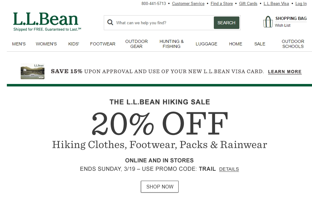 Llbean discount coupon