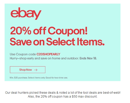 Ebay discount coupons storewide november 2019