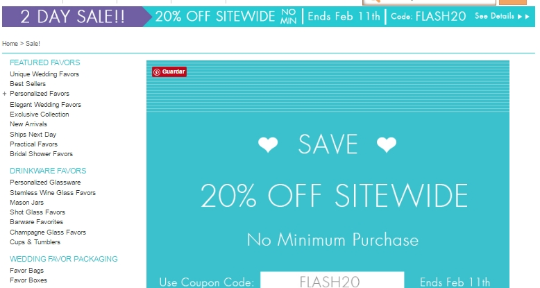 Wedding favor discount coupon code