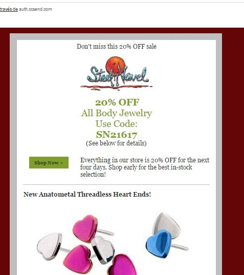 Steel navel coupons