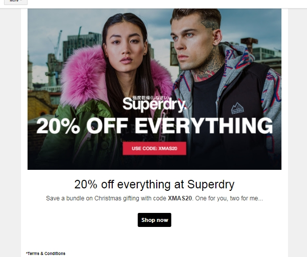 Black Friday Coupon! Favorite Code: 20% off. Time's almost up for this offer. Share this deal with friends, the more people that shop with Superdry UK, the lower the prices get!