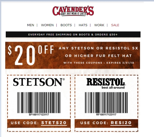 For Stetson we currently have 0 coupons and 4 deals. Our users can save with our coupons on average about $ Todays best offer is Shop Men's And Women's Boots. If you can't find a coupon or a deal for you product then sign up for alerts and you will get updates on every new coupon added for Stetson.
