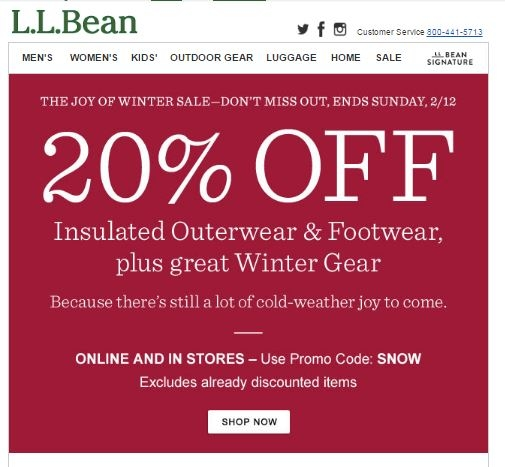 Llbean coupon code 20