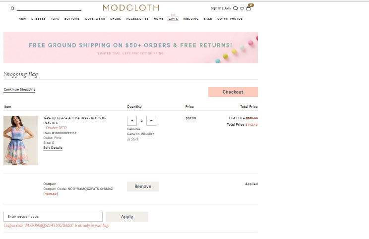 ModCloth has offered a sitewide coupon (good for all transactions) for 30 of the last 30 days. As coupon experts in business since , the best coupon we have seen at spia.ml was for 40% off in November of