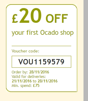 All Active Ocado Discount Codes & Vouchers - Up To 30% off in December With a large number of Ocado vouchers, you can save big on your weekly shopping. Ocado is the UK's only dedicated online supermarket, which sells groceries, household products, toys, books, and magazines/5(2).