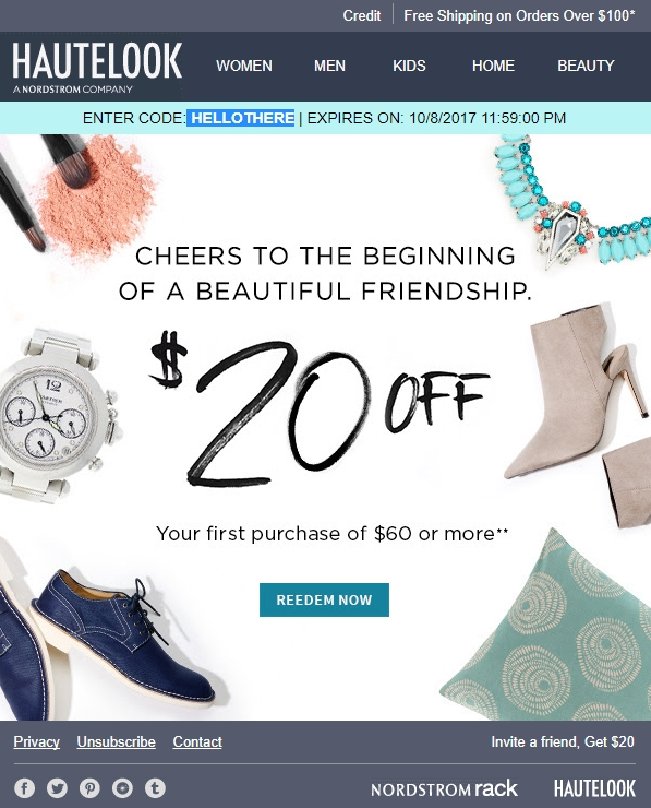 HauteLook launched Nordstrom Rack as a subsidiary in on a shared site. Customers also can shop both from the Nordstrom Rack app. Founder Adam Bernard sees HauteLook expanding into food and wine tastings and discounted sales of more exclusive services and experiences. How to Redeem a Coupon Code at HauteLook.