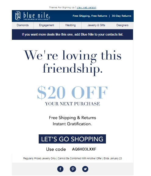 Blue nile coupon code july 2018