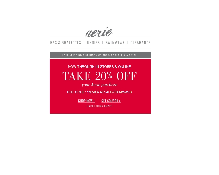 149d7464d Find the latest Aerie coupon codes, online promotional codes, and the  overall best coupons posted by our team of experts to save you 50% off at  Aerie.