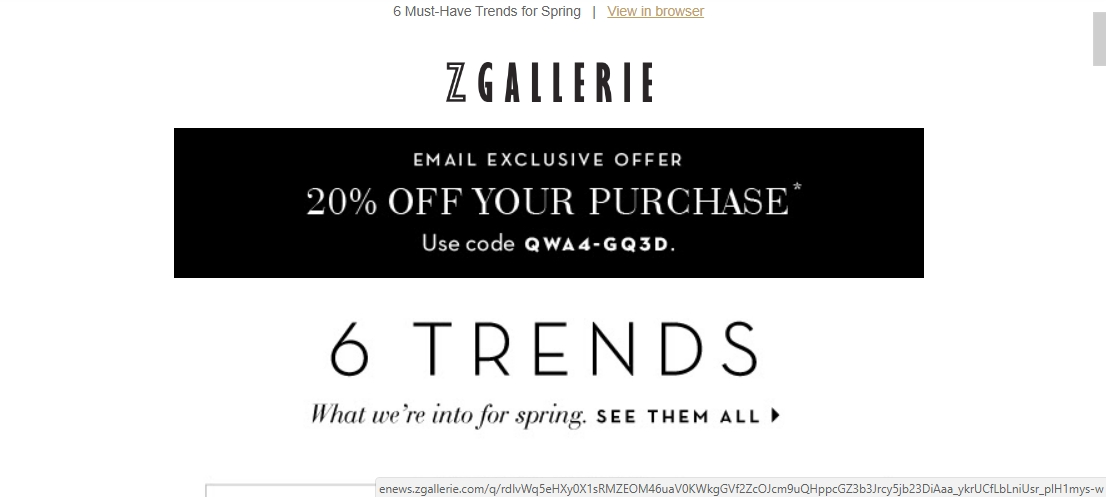 Z gallerie coupon codes 2018