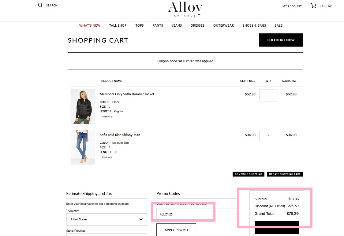 Alloy coupon code