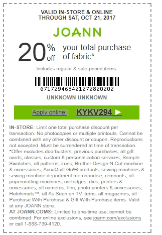 Joanns coupons 2019