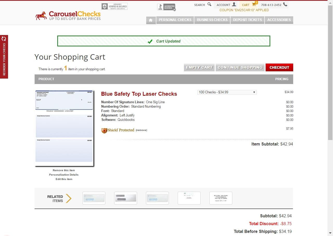 Carousel checks coupon code