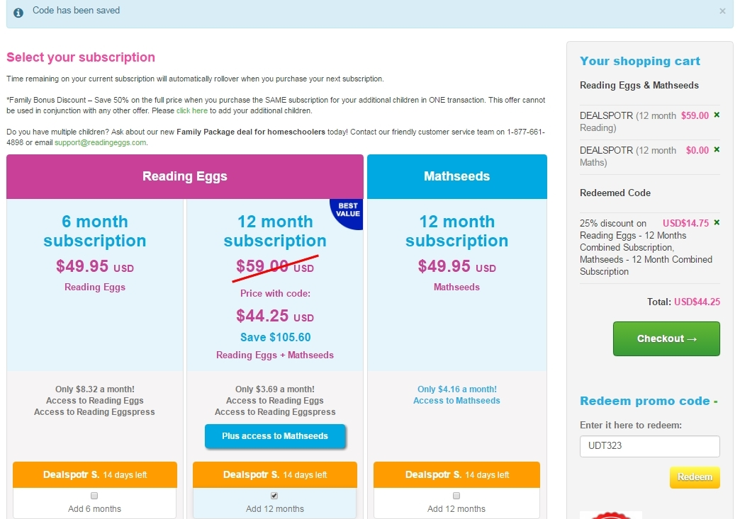 15% Discount on Reading Eggs + Mathseeds Month Subscription Start making purchases using this coupon code and enjoy great savings. Shop right away and get 15% Discount on Reading Eggs + Mathseeds Month Subscription.