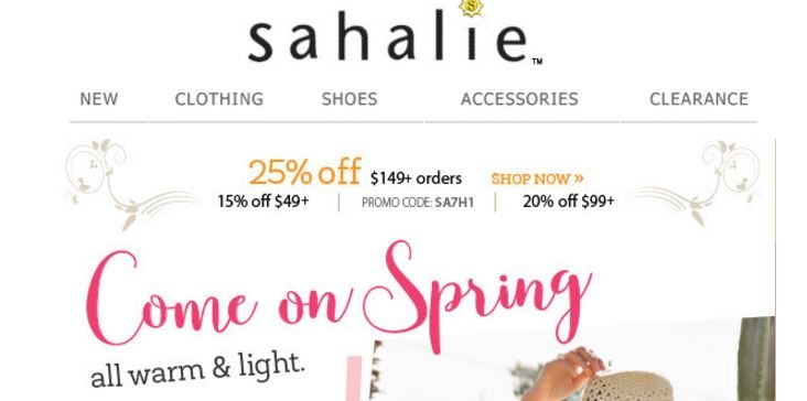 Sahalie coupon code