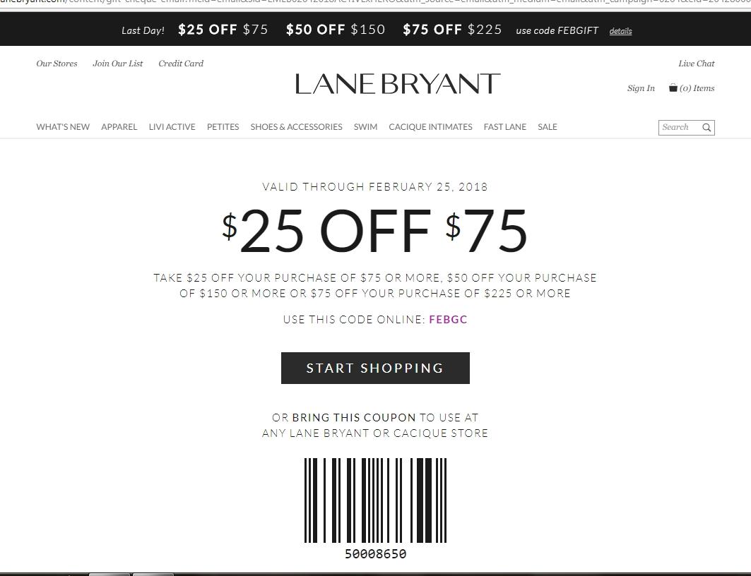 Lane bryant coupon codes