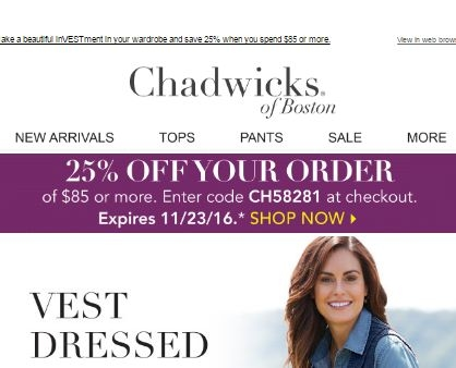 Chadwicks discount coupons