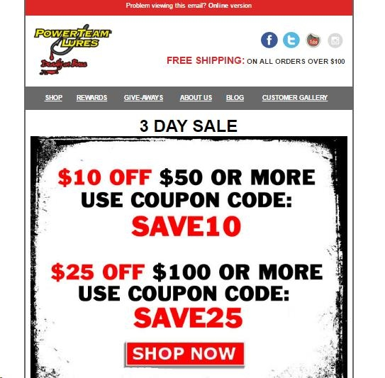 Lure parts online coupon code