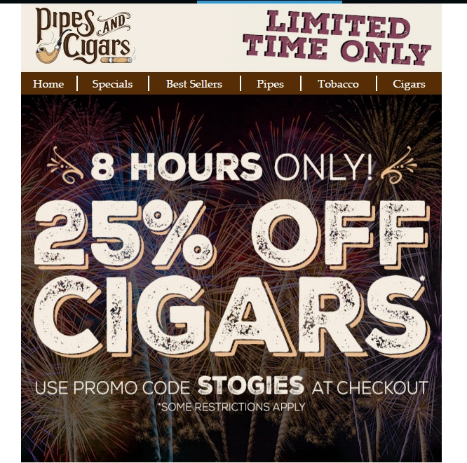 Pipes And Cigars Promo Codes December Pipes And Cigars Promo Codes in December are updated and verified. Today's top Pipes And Cigars Promo Code: Free Stanwell Christmas Pipe With Orders Over $