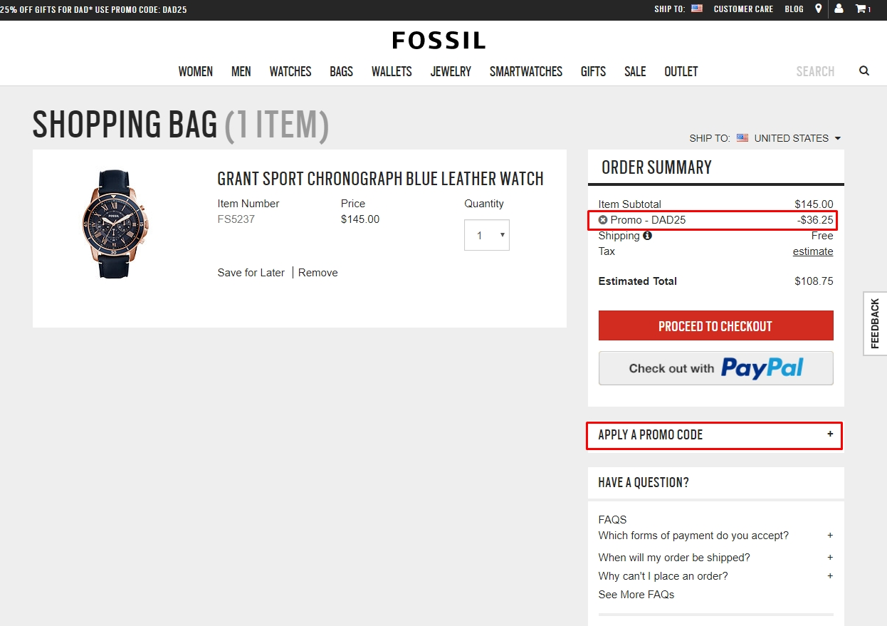 How to use a Fossil coupon