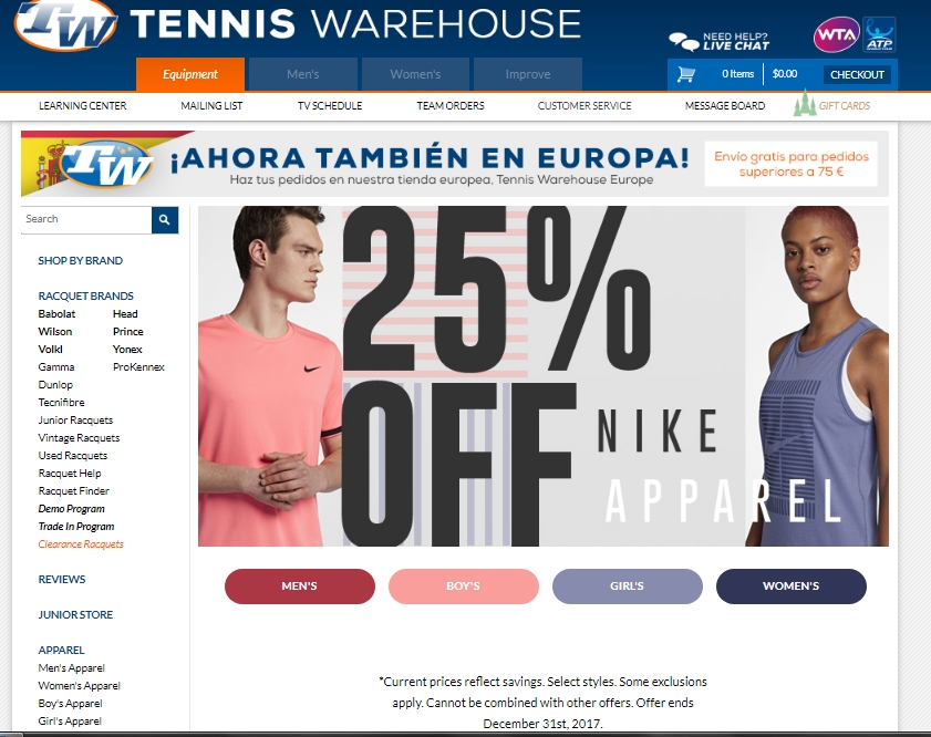 Tennis warehouse coupon code 2018