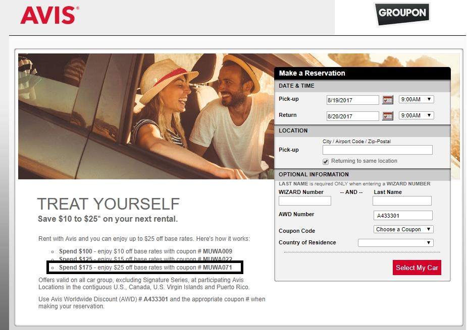Avis rental coupon code