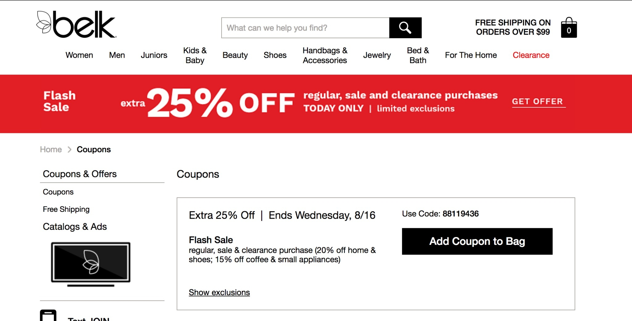 Belk coupon code $10 off